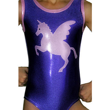 Gymnastics Leotard Girls Purple Mystique Unicorn Pegasus Horse Gymnast Leotards szs toddler cxxs cxs cs cm cl axs am al