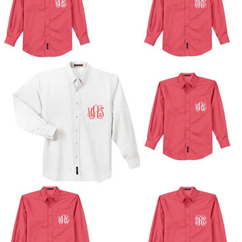 Monogram Bridesmaid Shirt, Bridesmaid Button Up, Monogram Button Up Shirt, Monogrammed Bridesmaid Gift, Getting Ready Shirt