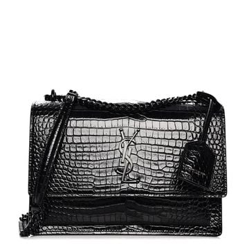 SAINT LAURENT Calfskin Crocodile Embossed Medium Monogram Sunset Black