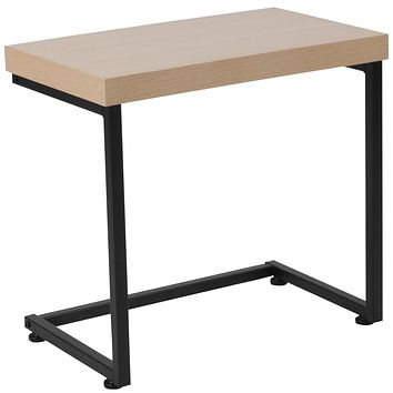 Hyde Square Collection Wood Grain Finish Side Table with Metal Legs