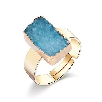 Dayoff European Crystal Natural Stone Ring For Women Men Gold Color Irregular Rectangle Drusy Druzy Rings Woman Jewelry R2