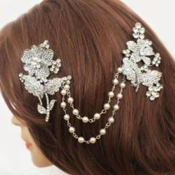 Wedding Jewelry Hair Piece Pave Crystal Large Roses Bridal Hair Drape