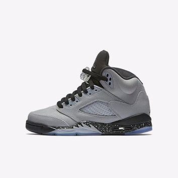 PEAPO2N Air Jordan Retro 5 V 'Wolf Grey' Grade School/ Men