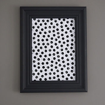 Black Framed Chicken Wire Organizer / Memo Board / Jewelry Hanger / Black & White Polka dots