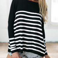 Monochrome Striped Long Sleeve Knitted T-shirt