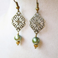 Bronze Filigree Diamond Pendants & Green and Gold Pearl Earrings