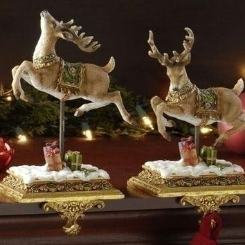 2 Reindeer Stocking Holders - Distressed Gold Antique-style Bases