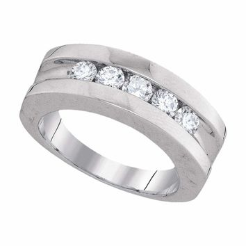 10kt White Gold Mens Round Channel-set Diamond Single Row Wedding Band 1.00 Cttw