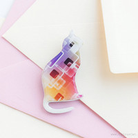 Colorful cat brooch, cat jewelry, animal jewelry, multicolor brooch, red, yellow, purple, geometric jewelry, cat silhouette, pastel brooch