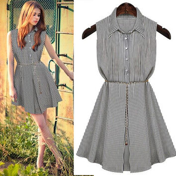 Casual Striped Pattern Doll Collar Sleeveless Pleated Button Down Mini Dress With Chain