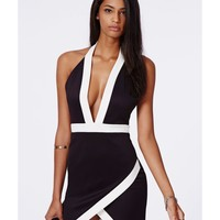 Missguided - Cristina Monochrome Halterneck Mini Dress