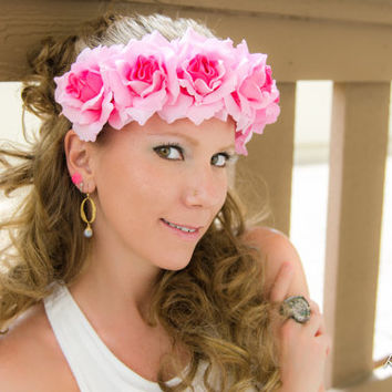 Pink Rose Flower Crown, Flower Headband, Holiday Clothes, New Years Dress, Coachella Crown, Burning Man, Bonnaroo, Wanderlust, Ezoo, PLUR
