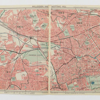 London Map,  Notting Hill map, Willesden Green Map, London, 1947 Map, Bartholomew's Map