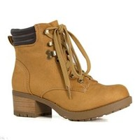 Soda Shoes Notion Lug Boots with Block Heel NOTION-BLONDE