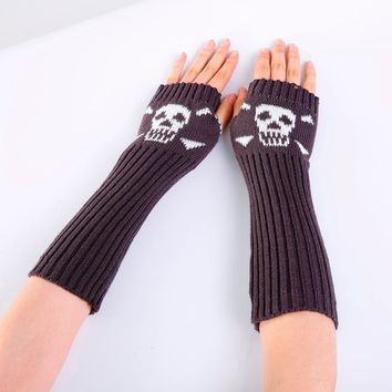 Skull Knitted Long Fingerless Gloves Mitten Casual Gloves
