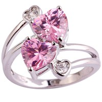 Loving Heart Pink & White Silver Color Ring