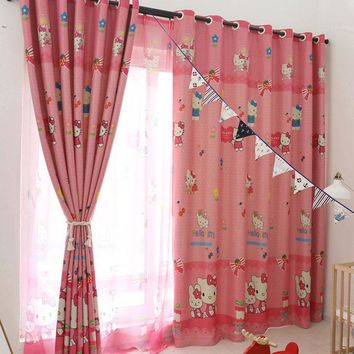 children's cartoon pink shading curtain Hello Kitty girl's Princess bedroom window screening cloth curtain and voile