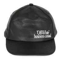Black Leather Business Casual Hat by OFF-WHITE