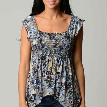 Women's Printed Smocked Square Neck Peasant Top