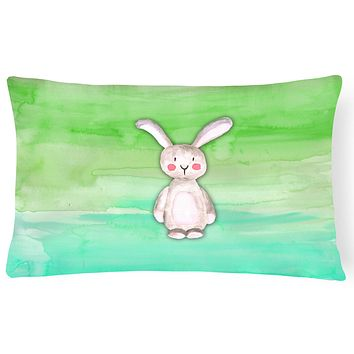 Bunny Rabbit Watercolor Canvas Fabric Decorative Pillow BB7437PW1216