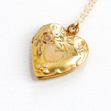 Vintage 10k Gold Filled Floral Heart Locket Necklace- 1940s WWII Era Sweetheart Etched Rose Gold Flower Jewelry