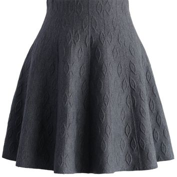 Grey Embossed Knitted Skater Skirt