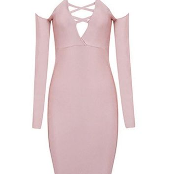 Pink Plain Tie Back Zipper Bandage Bodycon V-neck Long Sleeve Nightclub Mini Dress