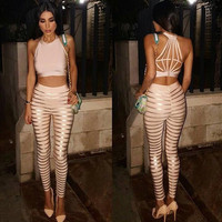 Free Shipping Hot New Fashion 2016 Women Nude and Gold Foil Print Two Piece Rayon Bandage Jumpsuit HL