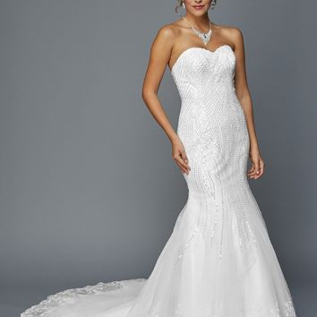 Juliet 359 Sequins Embellished Mermaid Style Wedding Dress White