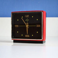 Vintage Soviet Russian Clock, Red and Black Vintage, 80s Interior Design