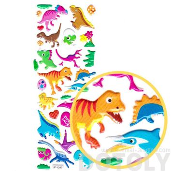 Colorful Dinosaur T-Rex Triceratops Prehistoric Themed Stickers for Kids