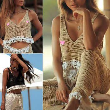 hirigin Brand Summer Women Sexy V Neck Crop Top Crochet Swim Cover up Lady Girls Lace Sleeveless Tank Top Beach Vest Clothing