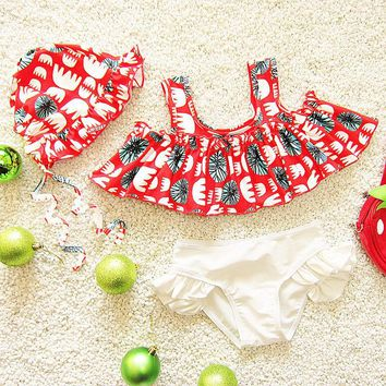Novel Printed Princess Bikinis Sets Girls Swimwear Two Pieces Kids Swimsuits W/Cap Children Swimming Bathing Suits 2018 CO