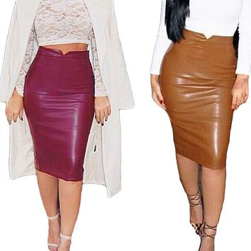 Women PU Leather Long Skirt Solid Color High Waist Slim Hip Pencil Skirts Vintage Bodycon Skirt Sexy Clubwear BZ861775