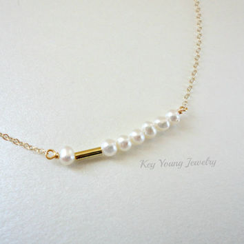 Pearl bar necklace, Freshwater pearl necklace, Wedding gift, Bridesmaid necklace, Simple everyday necklace