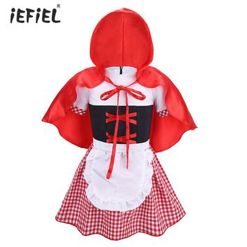 2017 New Fashion Infant Baby Girls Short Bubble Sleeves Plaid Halloween Costumes Cosplay Party Dress with Hooded Cloak SZ 6-18 M