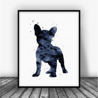 French Bulldog Puppy, Black Art Print Poster