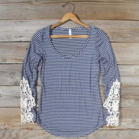 Sleepy Creek Lace Tee in Navy