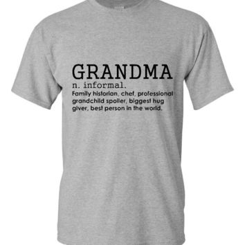 Defintion of Grandma T-Shirt Gift Ideas Grandma T Shirt Tee Ladies Funny Humor Gift Present Grammy Grandmom Grandmother Baby Shower Mom Nana