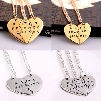 Broken heart Best Friend Necklace Bitches Pendant Necklace 2PC/Set BFF Women men Jewelry Brother Charm Chain
