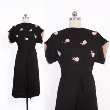 Vintage 40s NOVELTY DRESS / 1940s Black & Pink Embroidered BALLOONS Rayon Crepe Day Dress xs