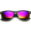 Retro Flat Matte Black Flash Revo Color Lens Horned Rim Sunglasses 8025