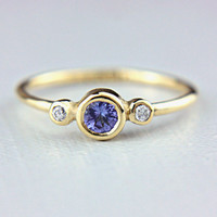 Tanzanite and Diamond Ring 14k Yellow Gold by ManariDesign on Etsy