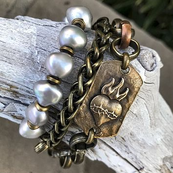 Bronze and Baroque Pearl Triple-wrap Heart Bracelet or Matinee Necklace