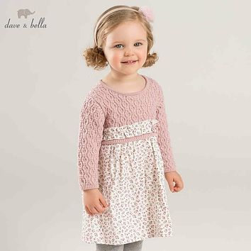 DB8822 dave bella autumn baby Princess Knitted Dresses girls floral long sleeve dress children boutique clothing