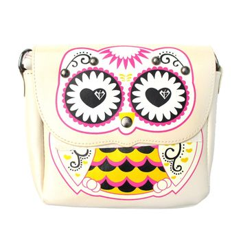 Abstract Owl Shaped Animal Themed Cross body Shoulder Bag for Women in Cream