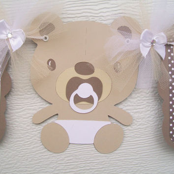 Gender neutral teddy bear banner, brown and tan, oh baby