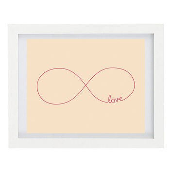 Infinity Love, Hand drawn Typography Print, Couples, Pink Home Decor, Personalise Your Colours, 8 x 10 FREE AU SHIPPING