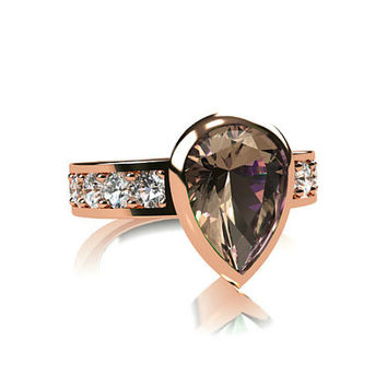 Pear cut morganite engagement ring, white sapphire ring, bezel engagement, solitaire, rose gold, rose gold engagement, peach morganite, pink