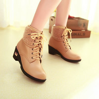 Women Round Toe Lace Up Ankle Boots Medium Heel Motorcycle Boots  7693